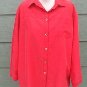 Sag Harbor Shirt Plus Sz 22W Solid Red Rayon